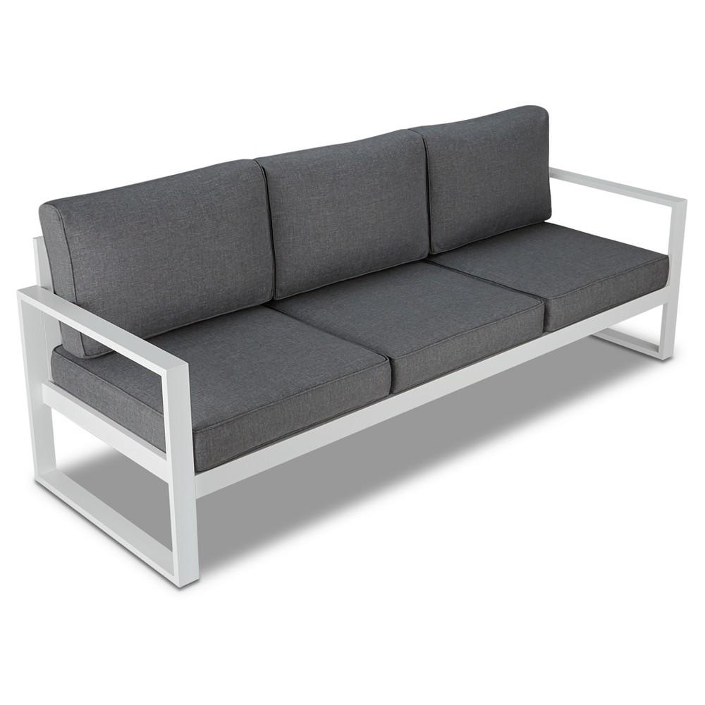 Baltic 1pc Metal Patio Sofa - White - Real Flame