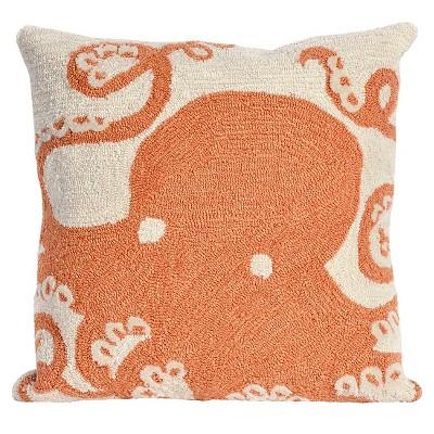 Coral Octopus Indoor/Outdoor Throw Pillow (18 x18 )- Liora Manne