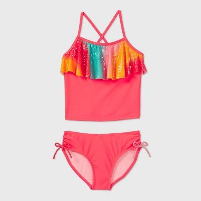 Girls' Shiny Flounce Top Tankini Set - Cat & Jack™ Pink