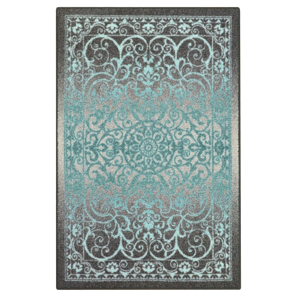 Image of 5'X7' Scroll Pressed/Molded Area Rug Gray - Maples