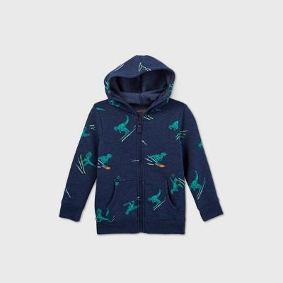Toddler Boys' Dino Print Zip-Up Fleece Hoodie Sweatshirt - Cat & Jack™ Navy