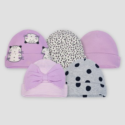 Gerber® Baby Girls' 5pk Caps Cat - Purple/Gray 0/6M