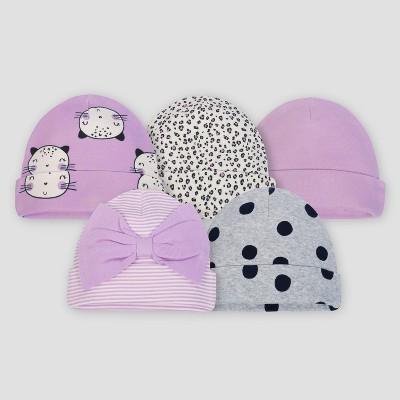 Gerber® Baby Girls' 5pk Caps Cat - Purple/Gray 0/6M