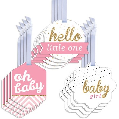 Big Dot of Happiness Hello Little One - Pink and Gold - Assorted Hanging Girl Baby Shower Favor Tags - Gift Tag Toppers - Set of 12