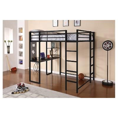 225 & Adele Loft Bed with Desk (Full) Black - Room \u0026 Joy