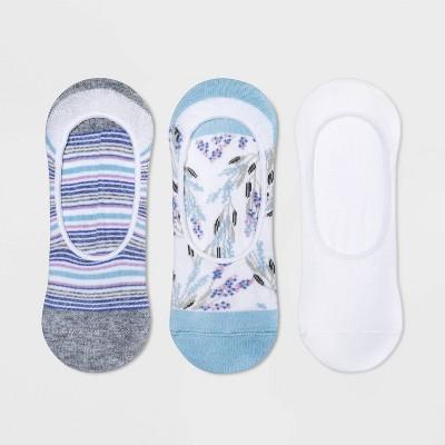 Women's Wildflower 3pk Liner Socks - A New Day™ White/Blue 4-10