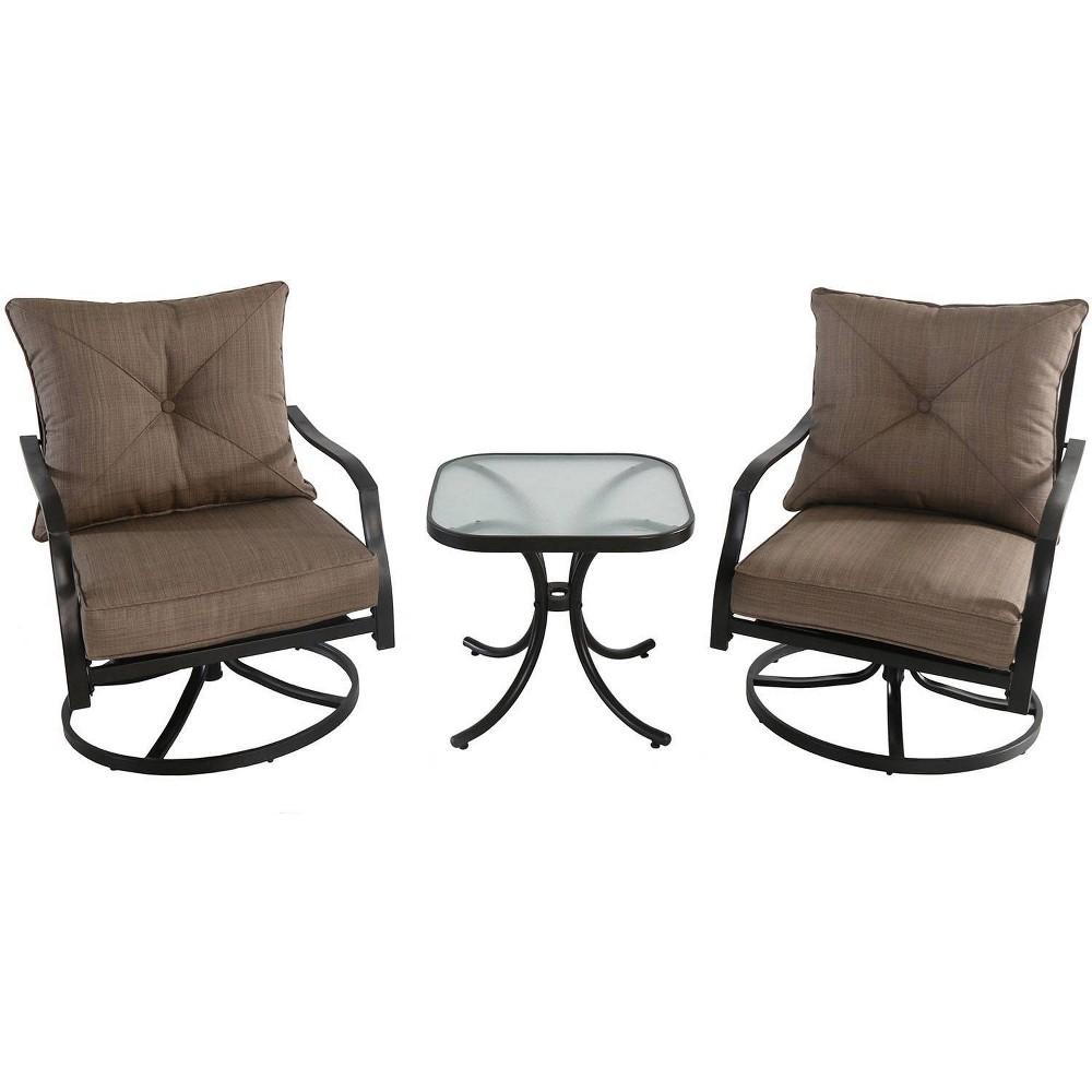 Image of 3pc Steel Swivel Rocker Patio Seating Set Tan - Hanover