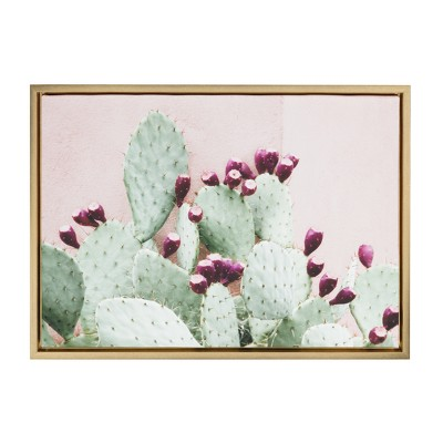 """18"""" x 24"""" Sylvie Cactus 25 Framed Canvas by Amy Peterson Gold - Kate and Laurel"""