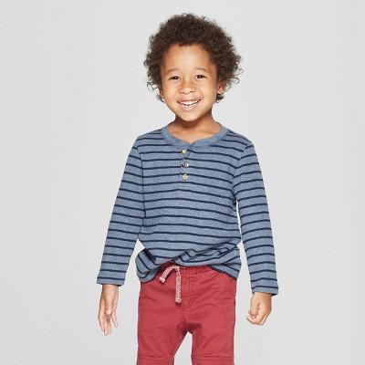 Toddler Boys' Long Sleeve Striped Henley - Cat & Jack™ Navy 12M