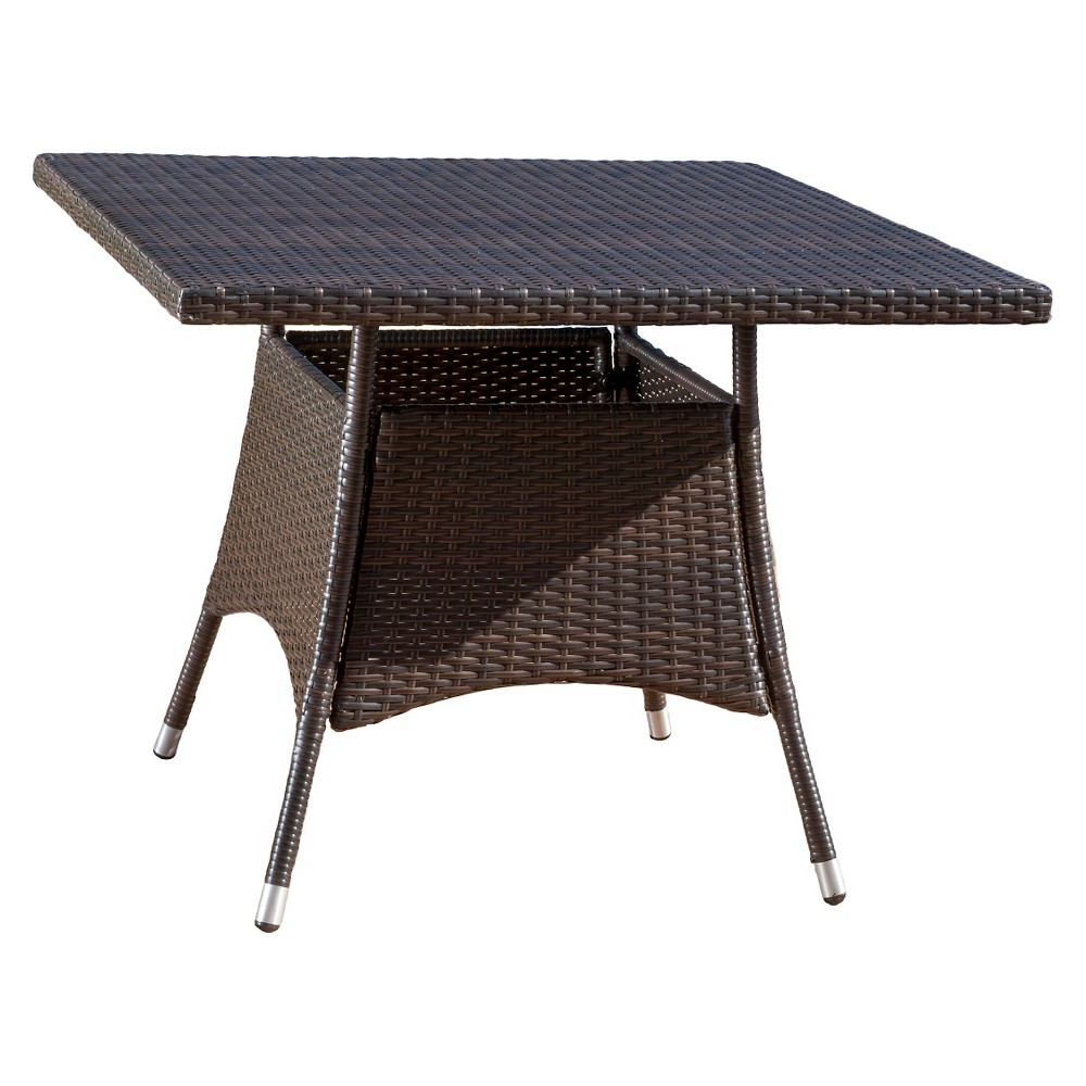 Corsica Square Wicker Dining Table - Multi Brown - Christopher Knight Home