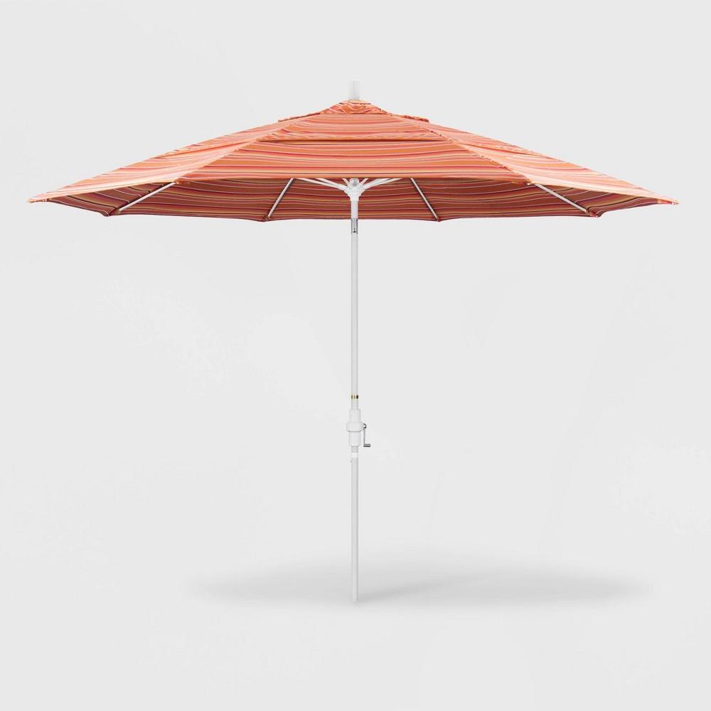 Image of 11' Sun Master Patio Umbrella Collar Tilt Crank Lift - Sunbrella Dolce Mango - California Umbrella, Dolce Orange