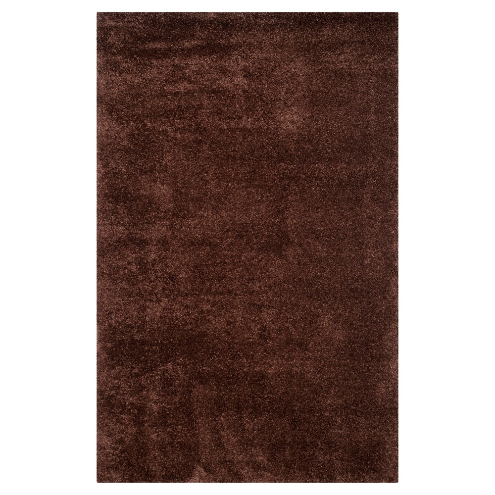Brown Solid Shag/Flokati Loomed Area Rug - (5'1X8') - Safavieh