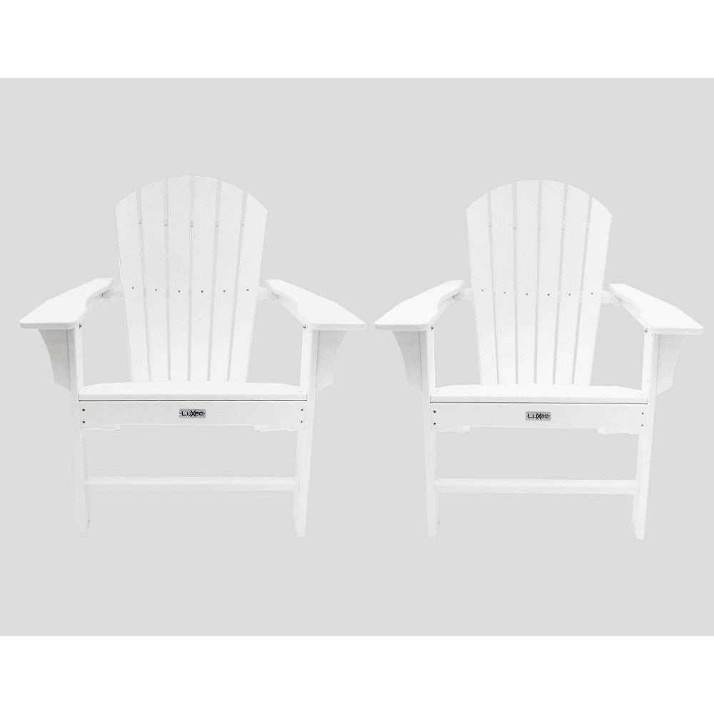 Image of Hampton 2pk Poly Outdoor Patio Adirondack Chair - White - LuXeo