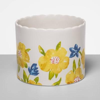"6.1"" x 4.8"" Stoneware Painted Flower Planter Vase White/Green - Opalhouse™"