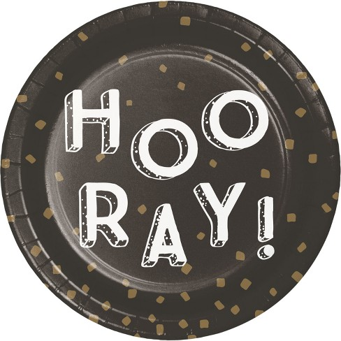 "7""Round 30ct ""Hooray!"" Disposable Snack Plate God - Spritz™ - image 1 of 1"