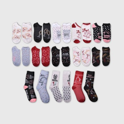 """Women's """"Eat Drink & Be Merry"""" 15 Days of Socks Advent Calendar - Assorted Colors 4-10"""