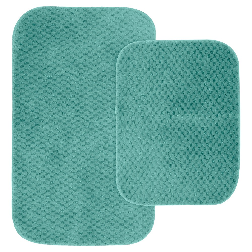Image of Garland 2 Piece Cabernet Nylon Washable Bath Rug Set - Sea foam, Seafoam