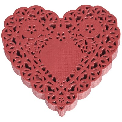 School Smart Paper Die-Cut Heart Lace Doily, 4 Inches, Red, pk of 100