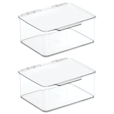 mDesign Stackable Countertop Storage Organizer Box with Lid, 2 Pack