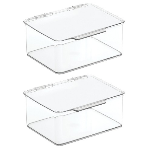 mDesign Stackable Plastic Craft, Sewing Storage Bin, Lid, 2 Pack - Clear - image 1 of 4
