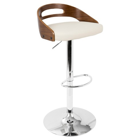 Cassis Mid - Century Modern Adjustable Barstool - Walnut And Cream - Lumisource - image 1 of 4