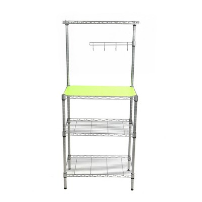 MIND READER 3-Tier Metal Rack Utility Shelf and Microwave Stand with Hooks on the Side (SILVER)