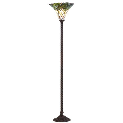"71"" Botanical Tiffany Torchiere Floor Lamp (Includes LED Light Bulb) Bronze -JONATHAN Y"