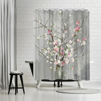 """Americanflat Delicate Pink Blooms by Pi Creative Art 71"""" x 74"""" Shower Curtain"""
