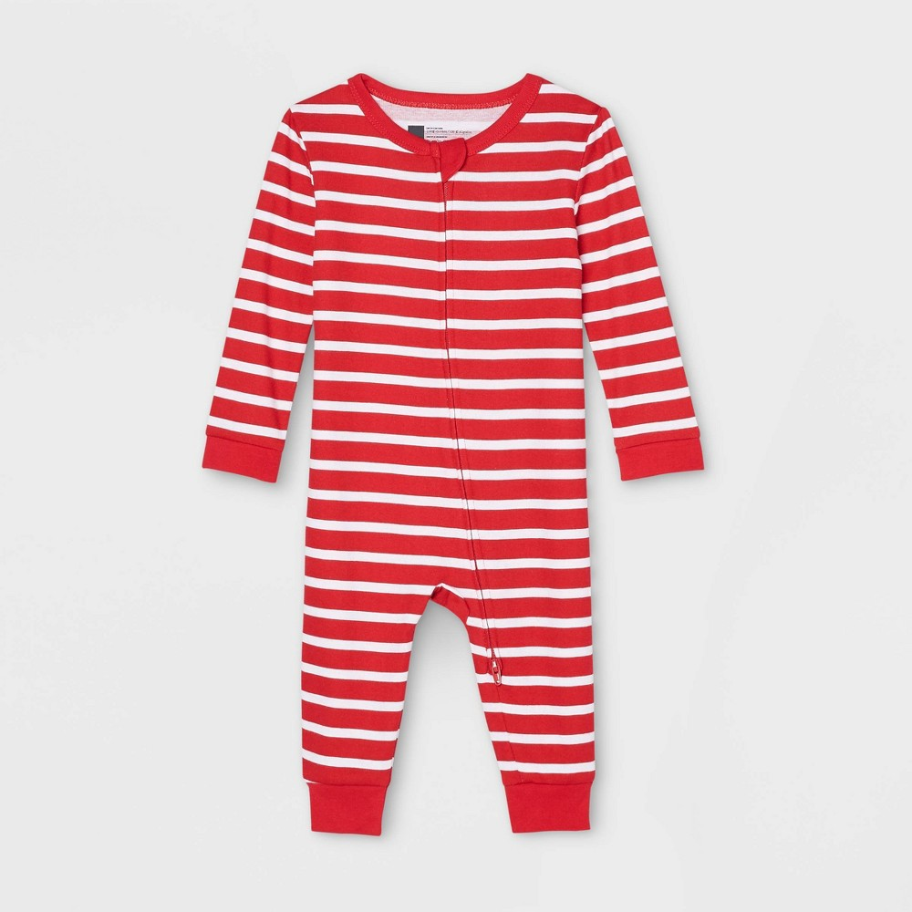 Baby Striped 100 Cotton Matching Family Pajamas Union Suit Red 3 6m