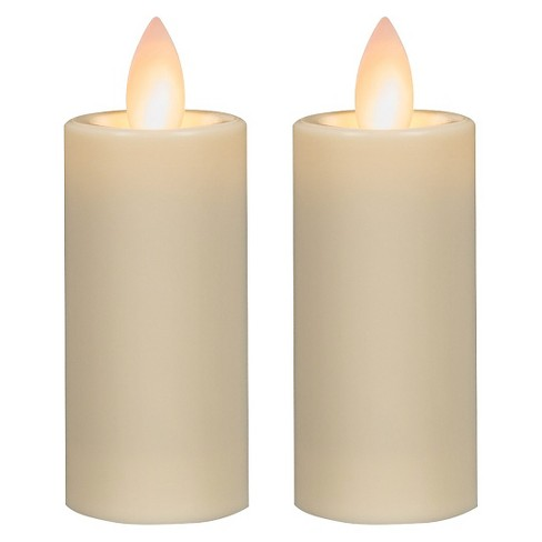 2ct Battery Operated LED Pillar Candle Set Cream - Mirage - image 1 of 3