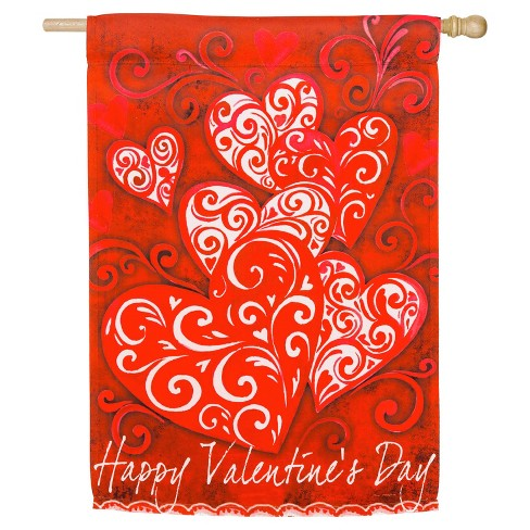 Valentine's Day Valentine Scroll Regular Suede Flag - image 1 of 1