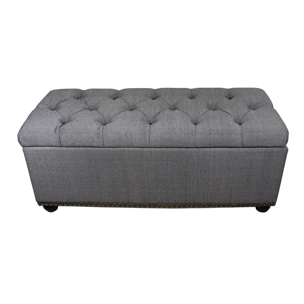 3pc Tufted Storage Bench with Ottoman Seating Gray - Ore International