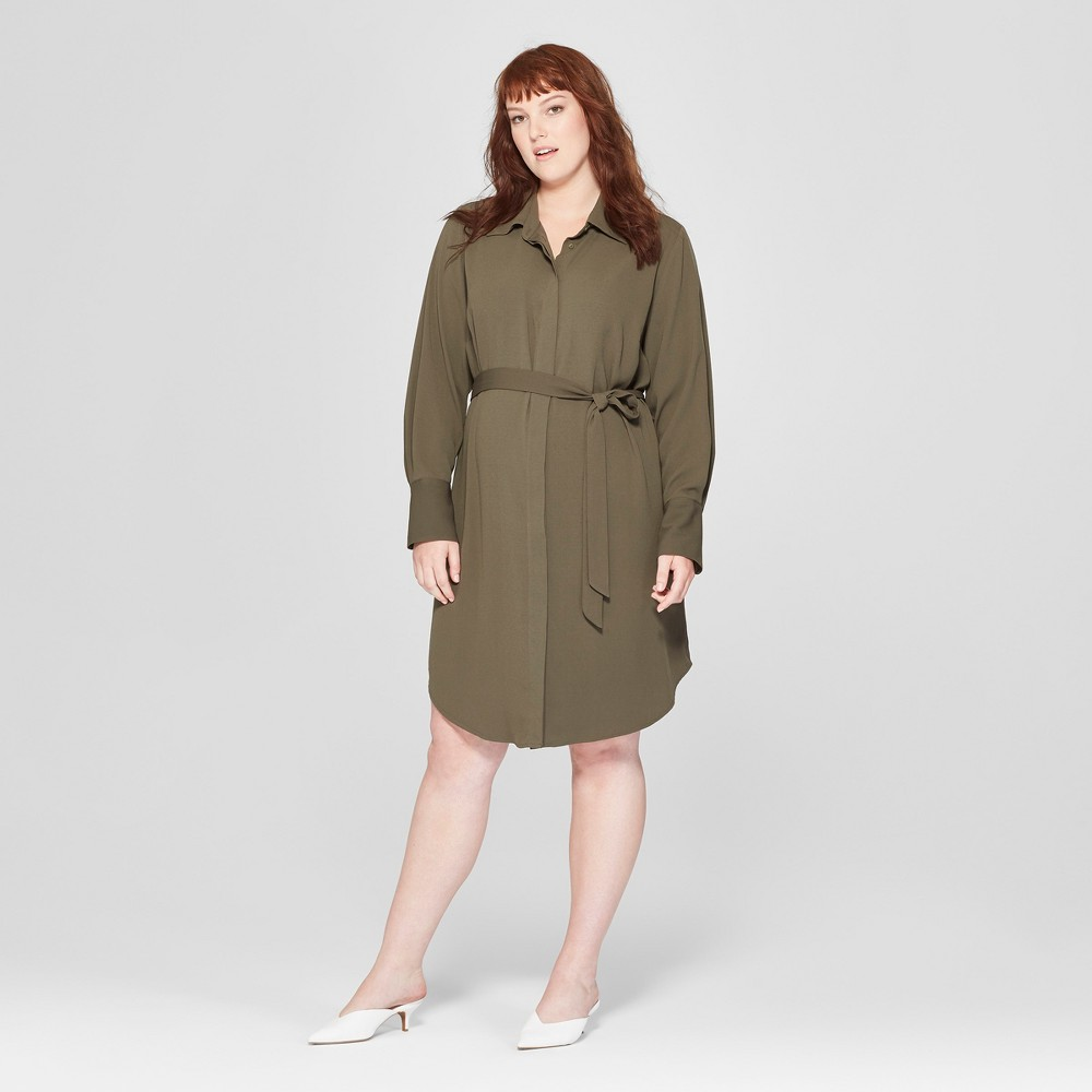 Women's Plus Size Long Sleeve Collared Shirtdress - Prologue Olive (Green) 3X