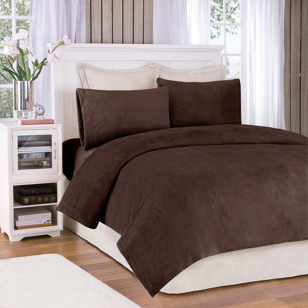 Soloft Plush Sheet Set - Mink (Full), Brown