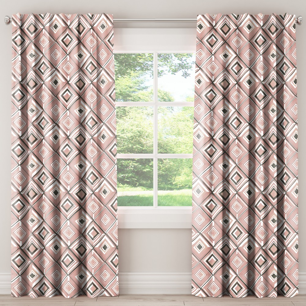 Unlined Curtains Diamond Watercolor Pink 120L - Skyline Furniture