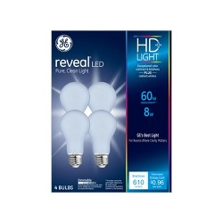 60W Reveal 4pk Aline LED Light Bulb White - General Electric