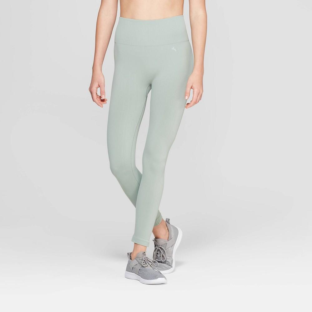 Women's High-Waisted 3/4 Length Seamless Leggings - JoyLab Sage Green M