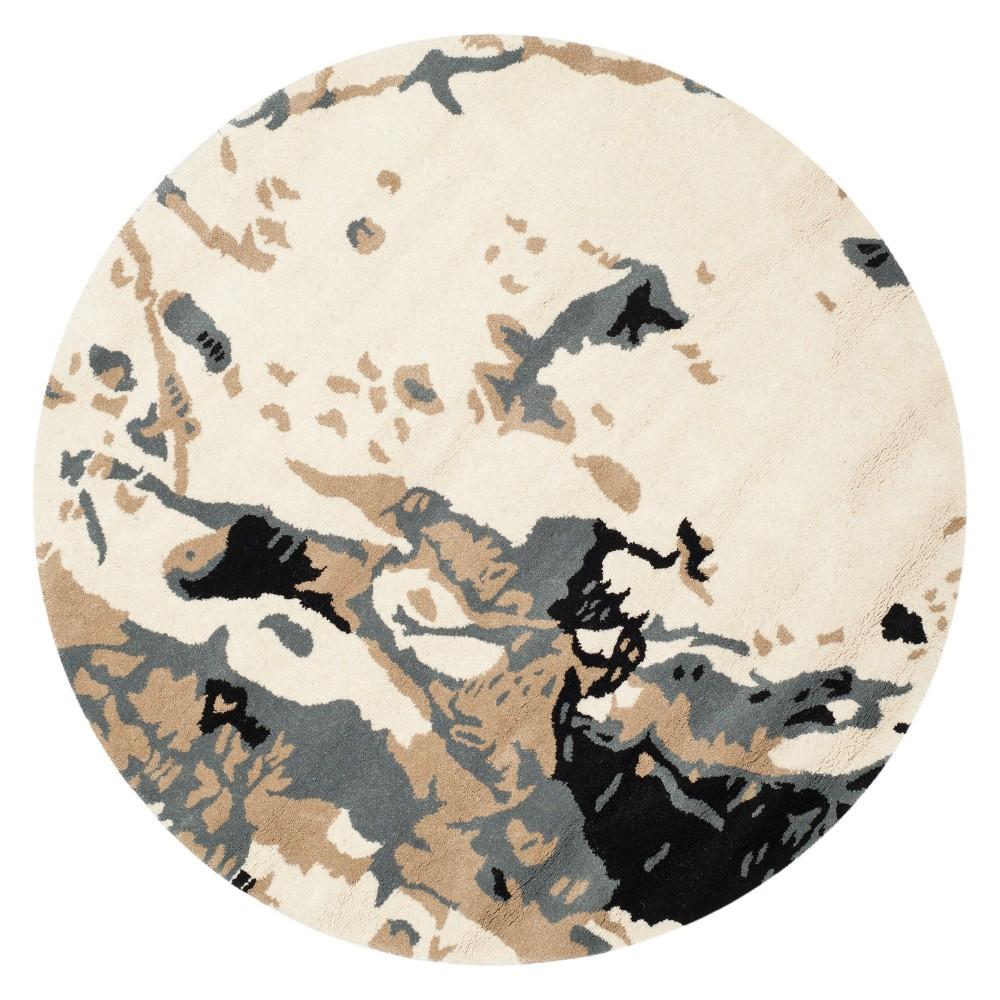 5' Splatter Round Area Rug Ivory - Safavieh, Gray White