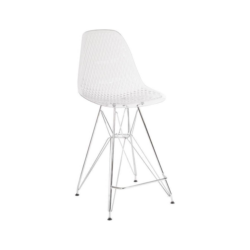 "Image of ""26"""" High Counter Height Stool with Chrome Legs Clear - Riverstone Furniture Collection"""