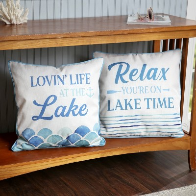 Lakeside Lake Living Throw Pillow Covers - Square Decorative Vacation Design - Set of 2