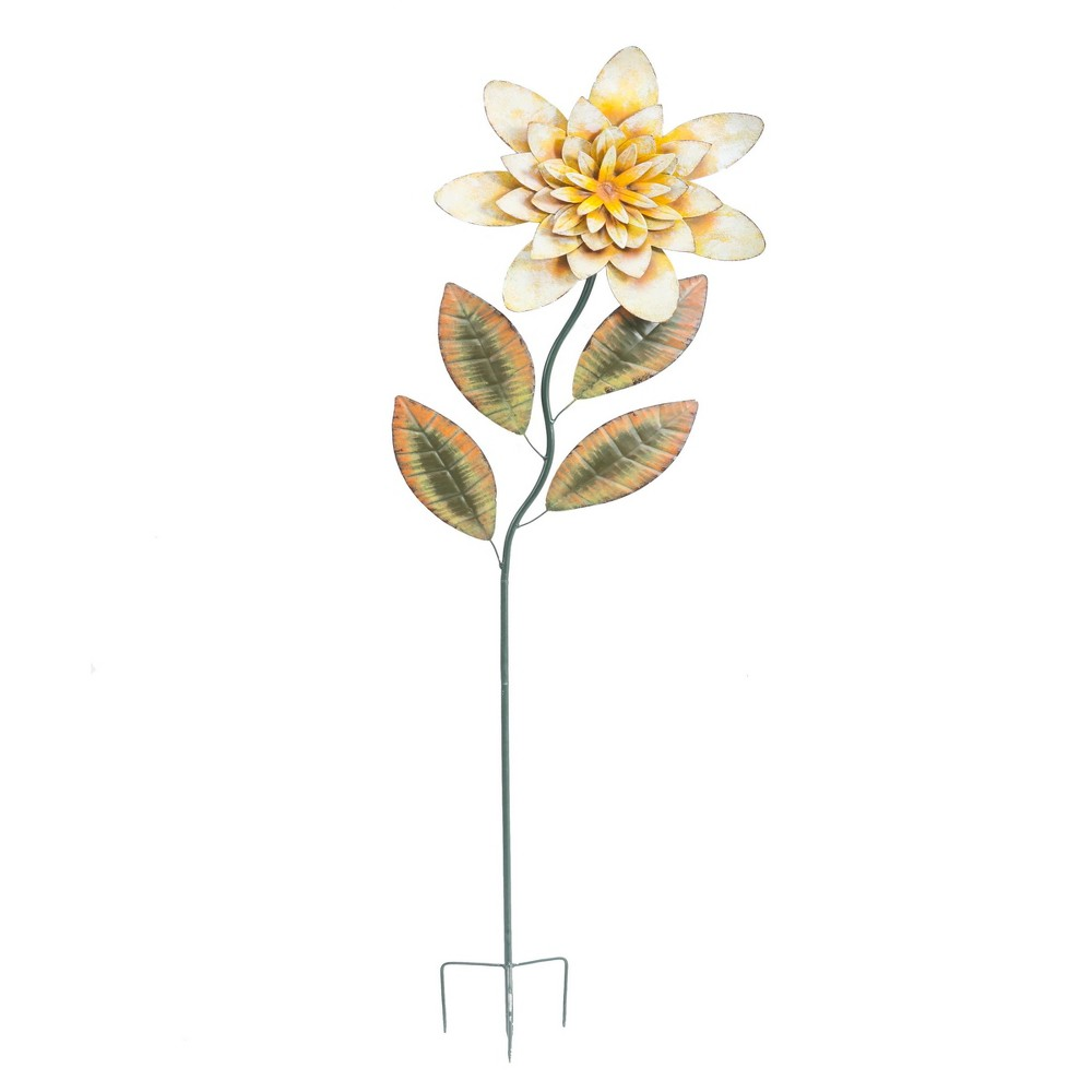 "Image of ""12"""" x 60"""" Iron Large Flower Garden Stake - Yellow - Sunjoy"""