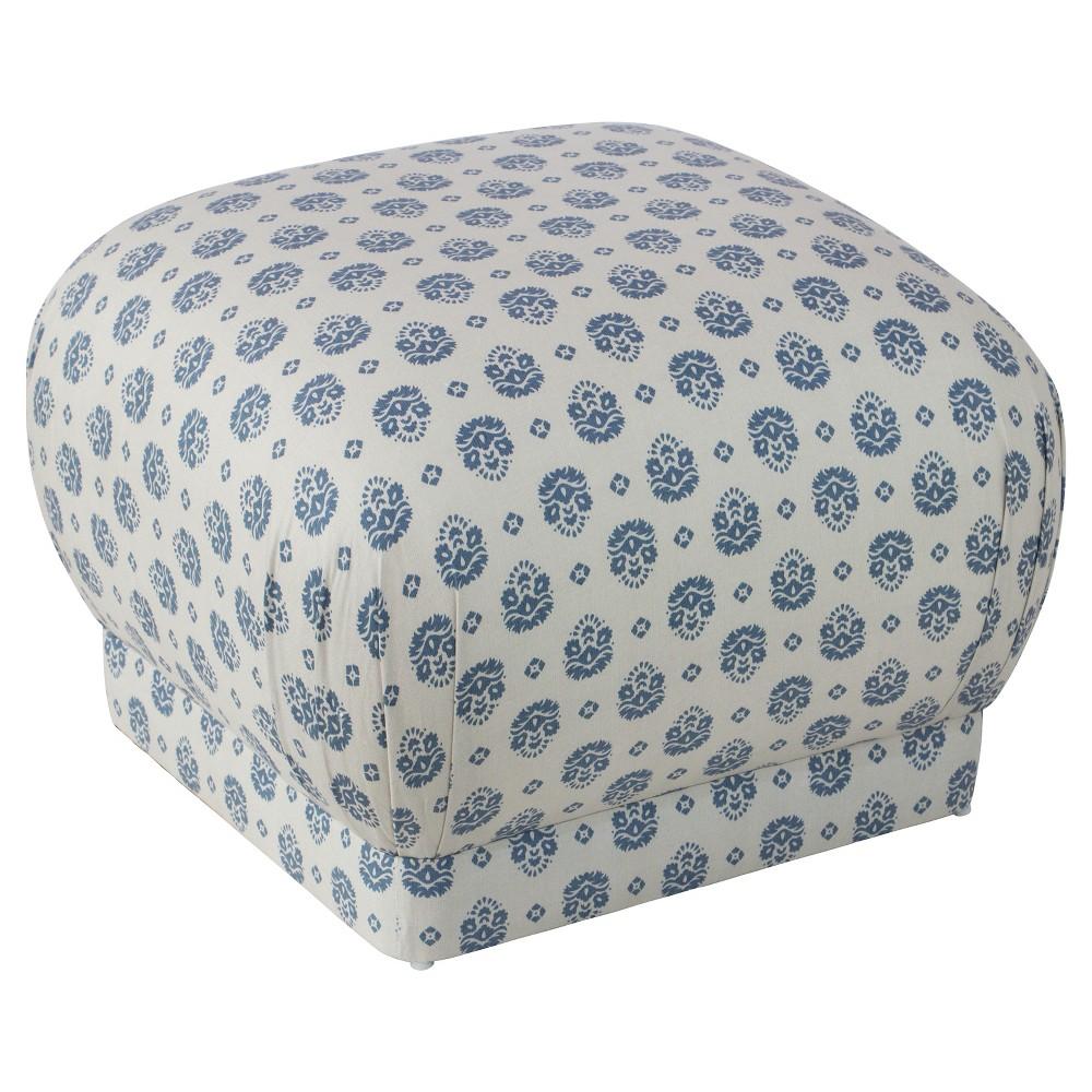 Lenox Ottoman - Small Block Floral Indigo - Cloth & Co, Blue