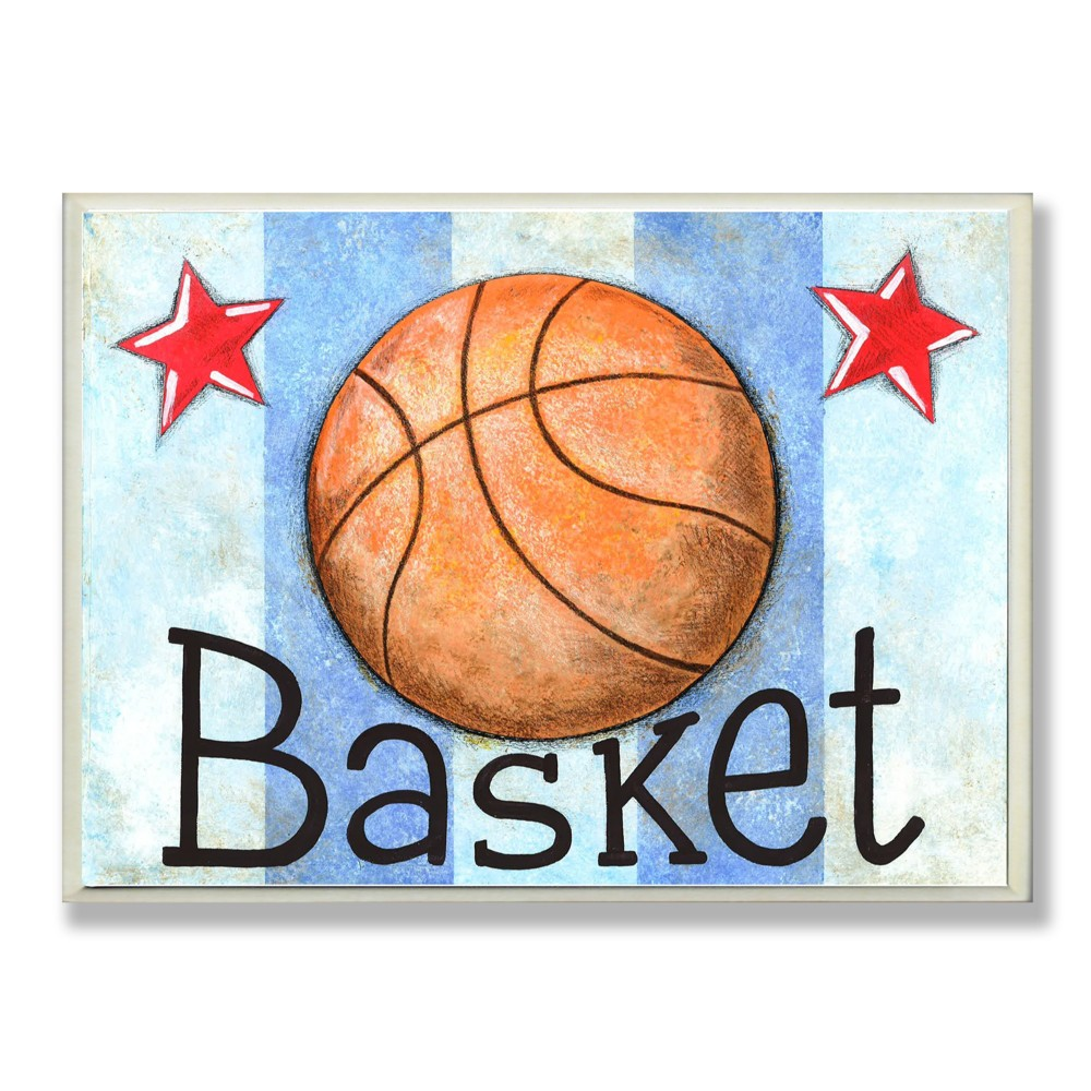 "Image of ""10"""" x 15"""" x 0.5"""" Basket Basketball With Blue Stripes Wall Plaque Art - Stupell Industries"""