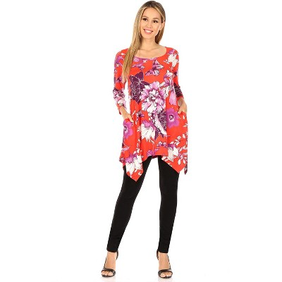 Women's Floral Scoop Neck Tunic Top with Pockets - White Mark