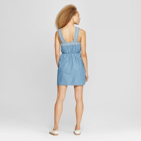 2f11e42d268 Women's Embroidered Denim Sundress - Universal Thread™ Light Indigo ...