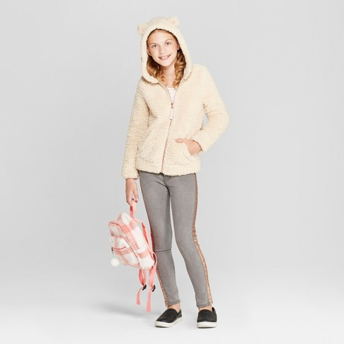 Girls' Bear Hoodie - Cat & Jack™ Tan - image 1 of 3