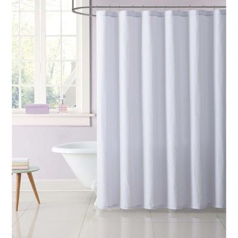 Anytime Striped Shower Curtain Purple