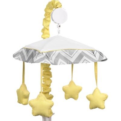 Sweet Jojo Designs Yellow and Gray Zig Zag Musical Mobile