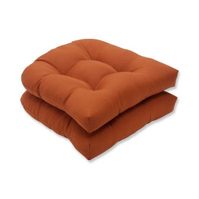 Outdoor 2-Piece Wicker Seat Cushion Set - Burnt Orange Fresco Solid