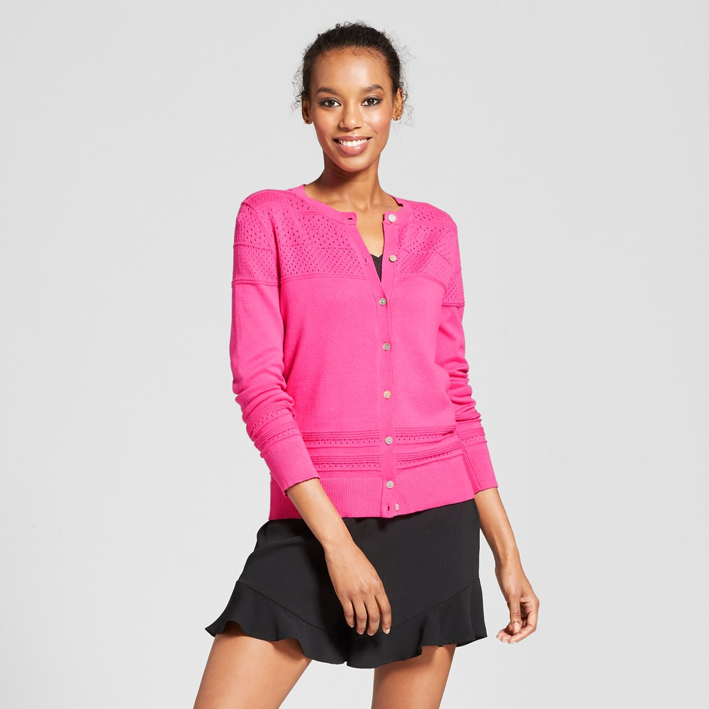 Women's Long Sleeve Any Day Cardigan - A New Day Pink Xxl